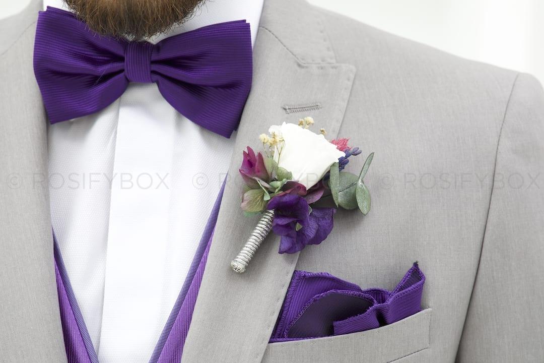 Prendido de novio personalizado de flores preservadas